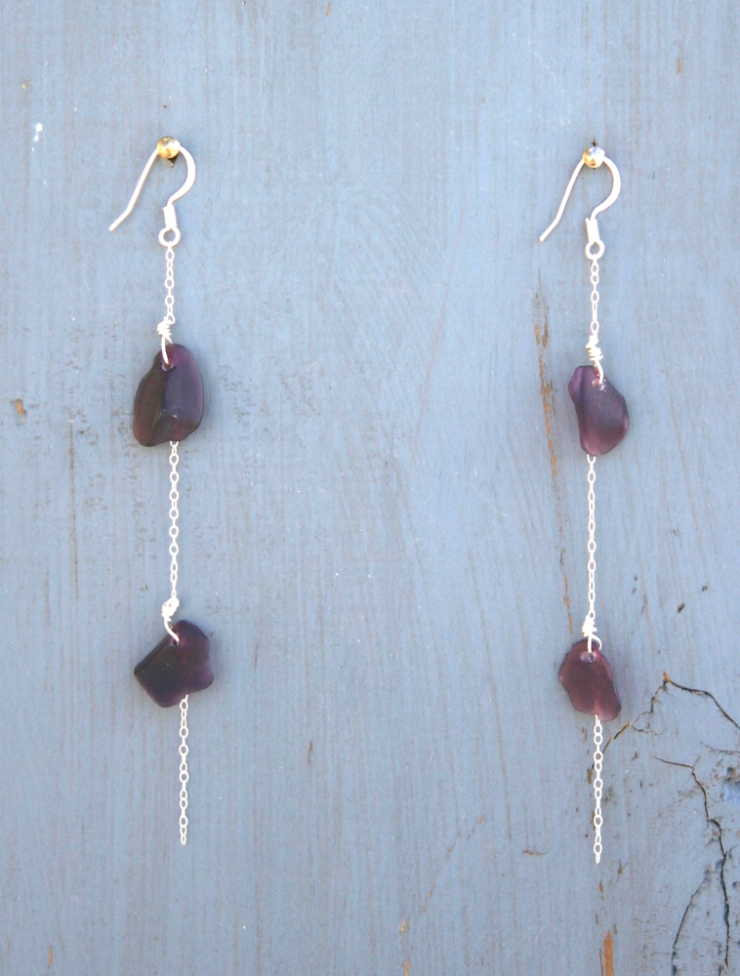Deep Purple Sea Glass Earrings for your new Life