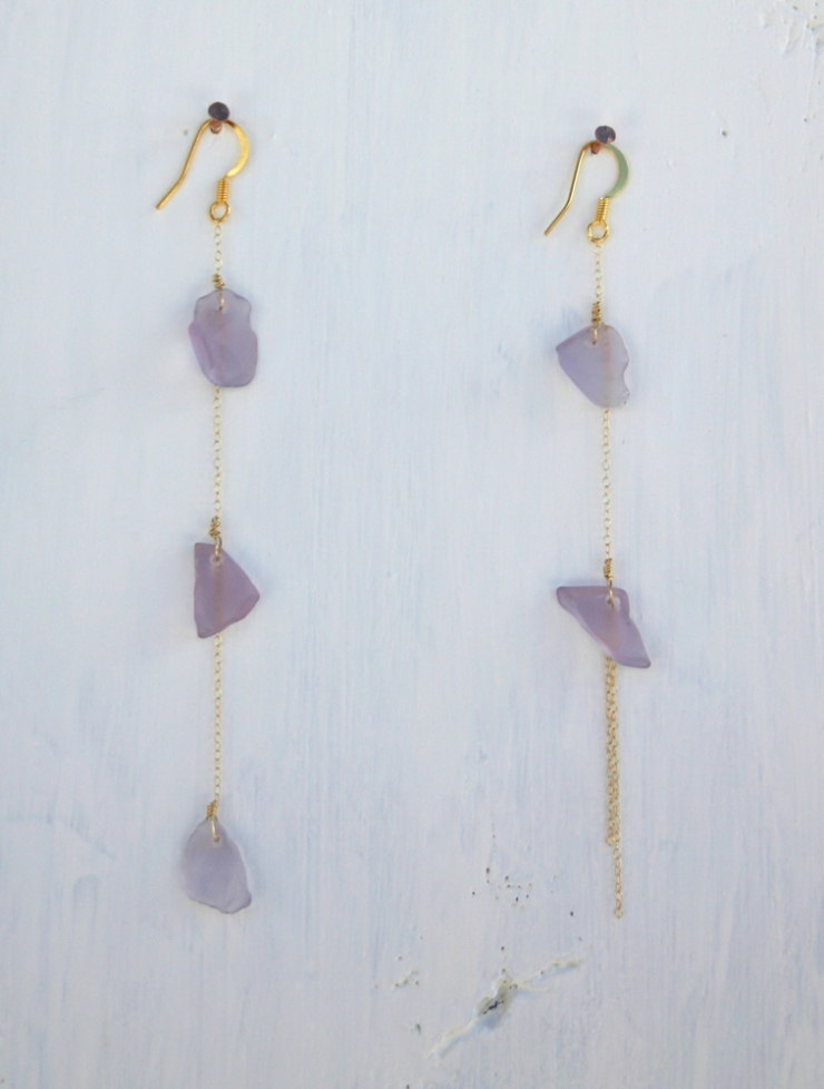 Light Violet colored sea glass earrings, the perfect calming addition to your wardrobe.