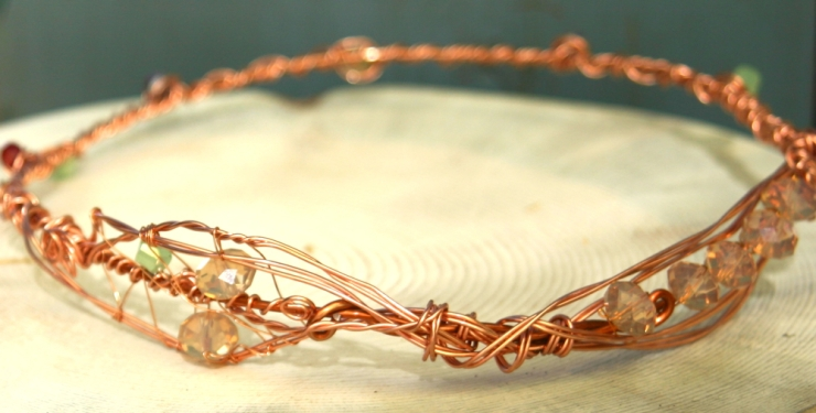 Beautiful Copper Wire and Crystal Tiara by The Mountain Mermaid