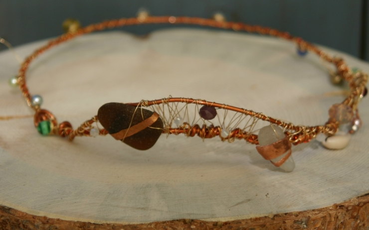 Sea Glass, Crystals and  Wire Tiara for the Boho Chic Goddess