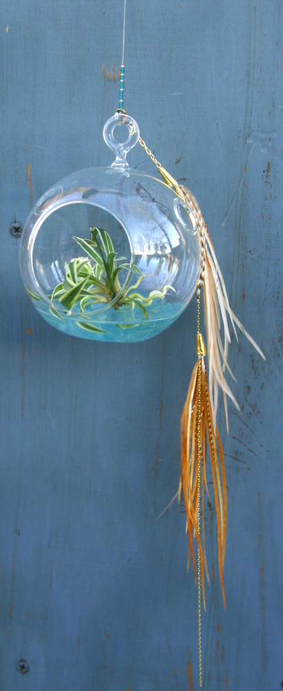 Hanging Orb with Ginger Feathers