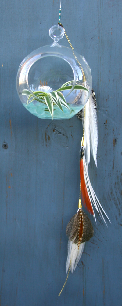 Hangin Orb with White and Red Feathers