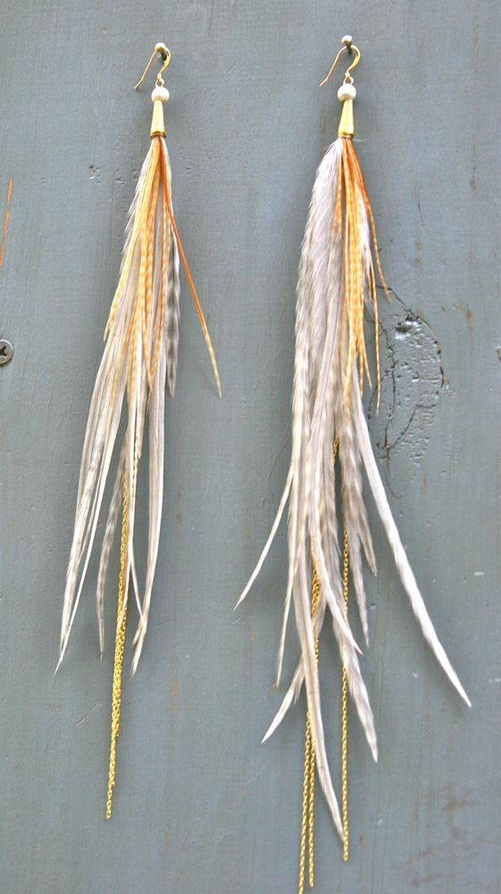 Athena, the sexy gypsy feathered earrings