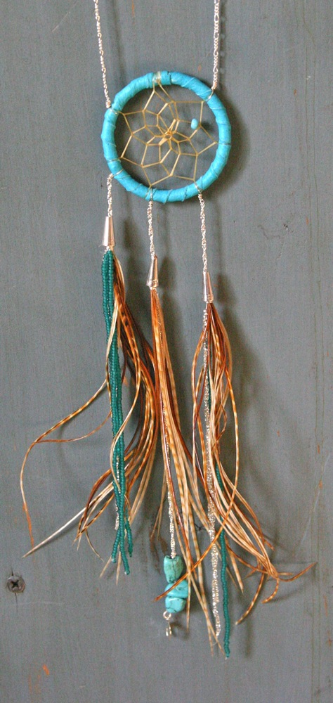 Blue Dreams, the dream catcher necklace